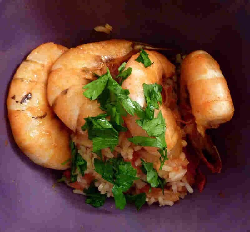 Camarao Mocambicana (Mozambique Shrimp, Or Shrimp Piri Piri) With Arroz De Tomate (Tomato Rice)