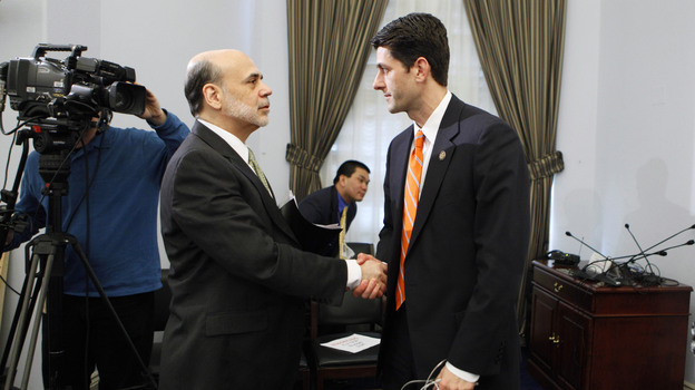House Budget Committee Chairman Paul Ryan, R-Wis., shakes hands with Federal Reserve Chairman Ben Bernanke at the close of the committee's hearing on the state of the economy in February 2011. (AP)