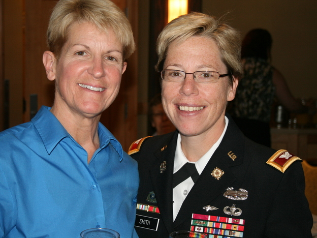 Army Brig. Gen. Tammy Smith (right) with her wife, Tracey Hepner. (Servicemembers Legal Defense Network)