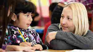 Teacher Carrie Sanderson in her classroom at El Dorado Elementary school in Visitation Valley, San Francisco.