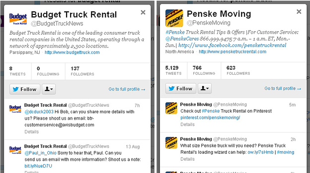 For customer Laura Hargrove, the choice between moving-truck companies Budget and Penske came down to how they use Twitter. (NPR)