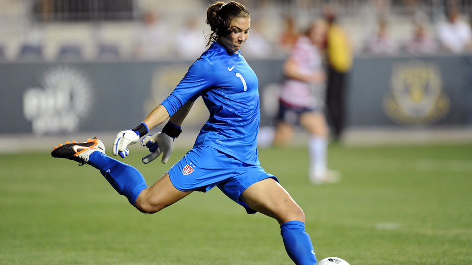 Goalkeeper Hope Solo competes against China in Chester, Penn., on May 27. Solo took a gold medal home from this summer's London Games. (Getty Images)