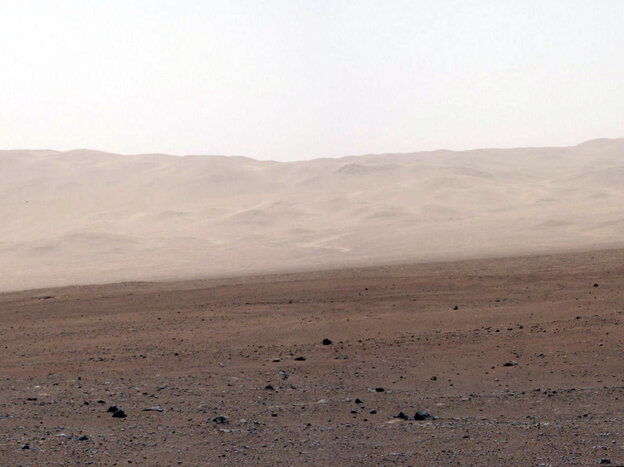 A network of valleys believed to have formed by water erosion enters Mars' Gale Crater from the outside. This image of the crater wall is north of the landing site, or behind the rover Curiosity.