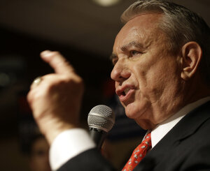 Former Wisconsin Gov. Tommy Thompson at his primary election night party Tuesday in Waukesha, Wis.