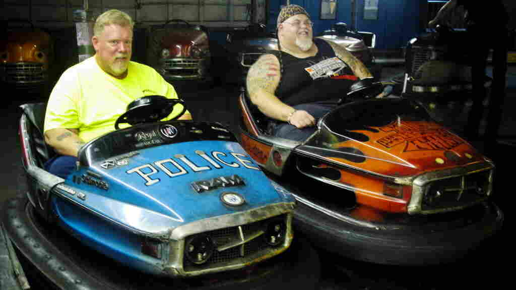 """Keith Van Brunt (left) and Tom Mgerack, known as the """"Bumper Car Psychos,"""" go for a ride July 27 at the Keansburg Amusement Park in Keansburg, N.J."""
