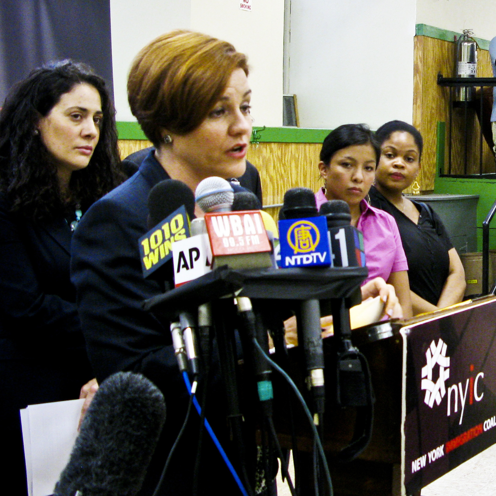 Christine Quinn, speaker of the New York City Council, addresses the audience during a press conference organized by the New York Immigration Coalition, the New York State Immigrant Action Fund and the New York State Youth Leadership Council.
