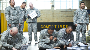 A training session for instructors who teach hand-to-hand combat, or combatives, at the Fort Benning military base in Georgia.