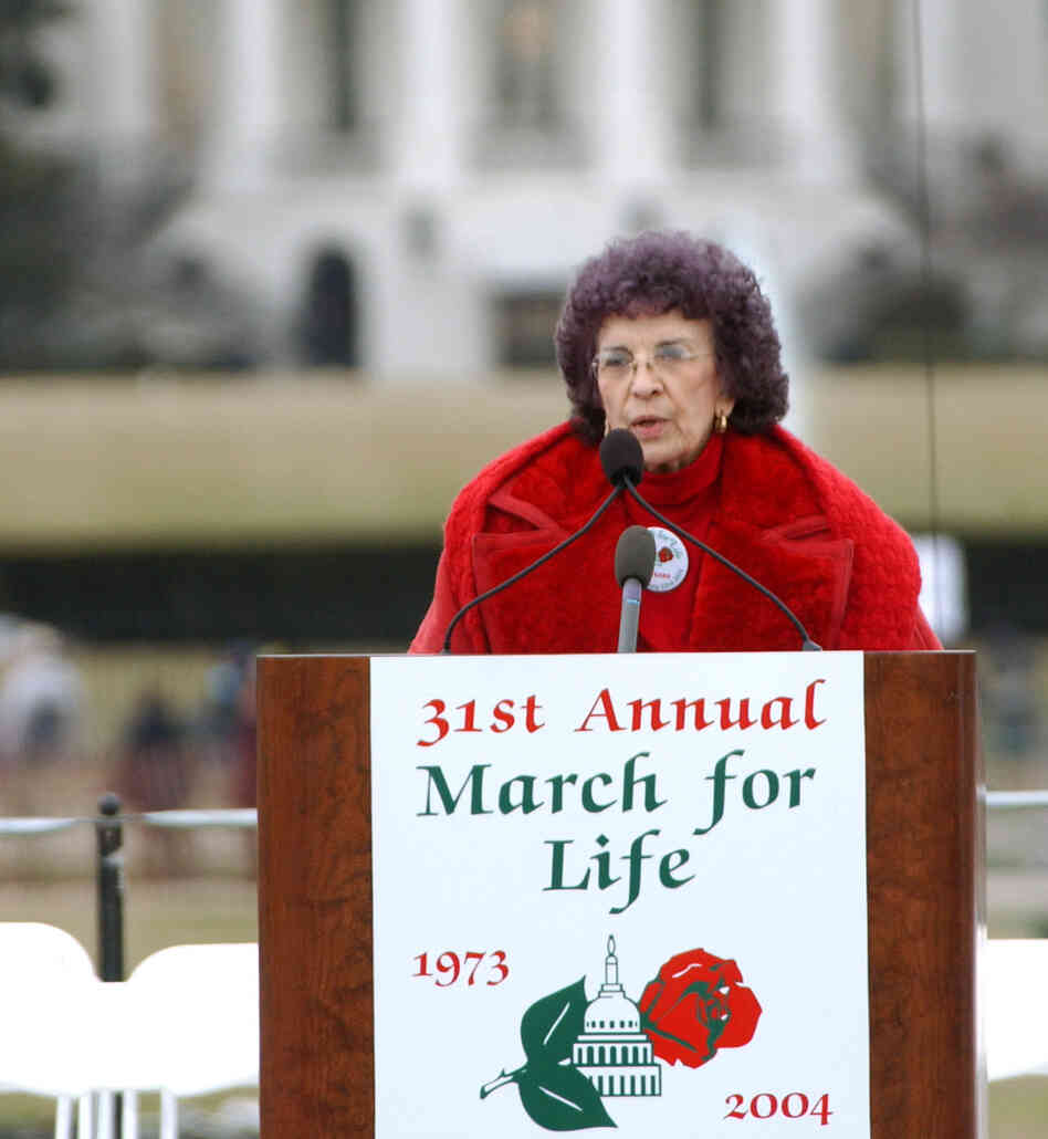 Nellie Gray, president of the  March for Life Fund, at the March for Life rally near the White House in 2004.