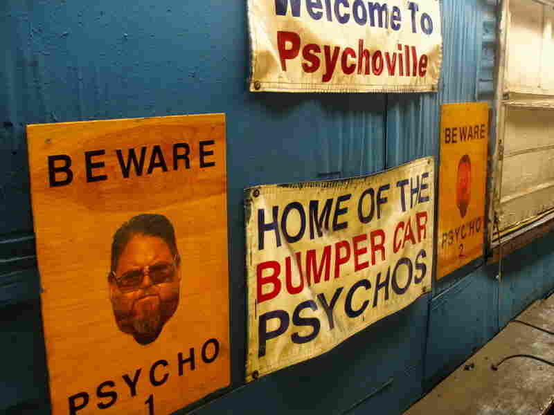 Signs line the walls of the bumper car ride at the Keansburg Amusement Park on the Jersey shore.