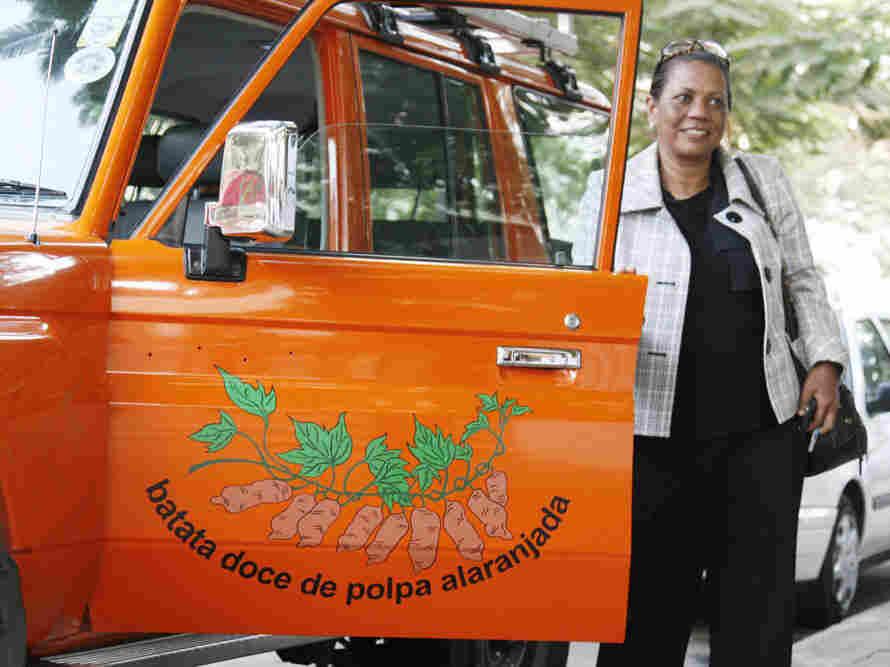 Sweet potato evangelist Maria Isabel Andrade from the International Potato Center drives around Mozambique in her orange Toyota Land Cruiser.