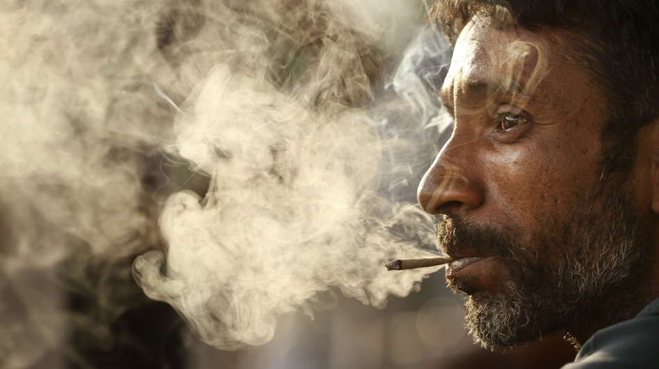 "A man smokes a bidi on ""No Tobacco Day,"" May 31, in Allahabad, India. These small, hand-rolled cigarettes are popular in India and Bangladesh because they are far cheaper than regular cigarettes. (AP)"