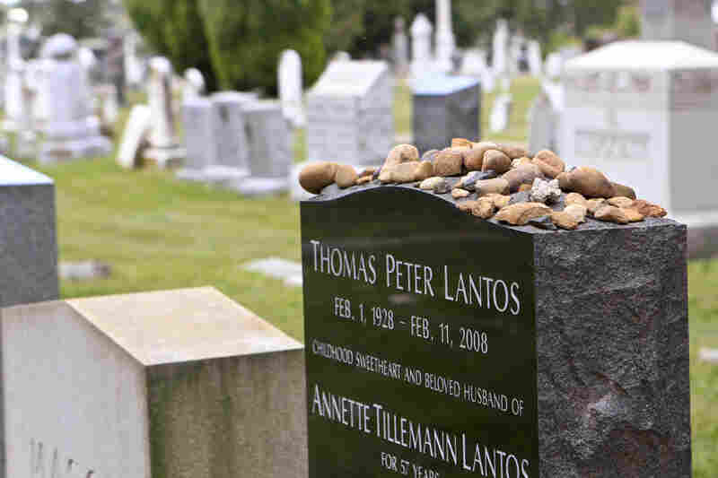 The cemetery that served as the first national burial ground remains an active cemetery. Here, the headstone of Rep. Tom Lantos of California, who died in 2008. The stones on top have been left by visitors as a mark of respect for Lantos, per Jewish tradition.