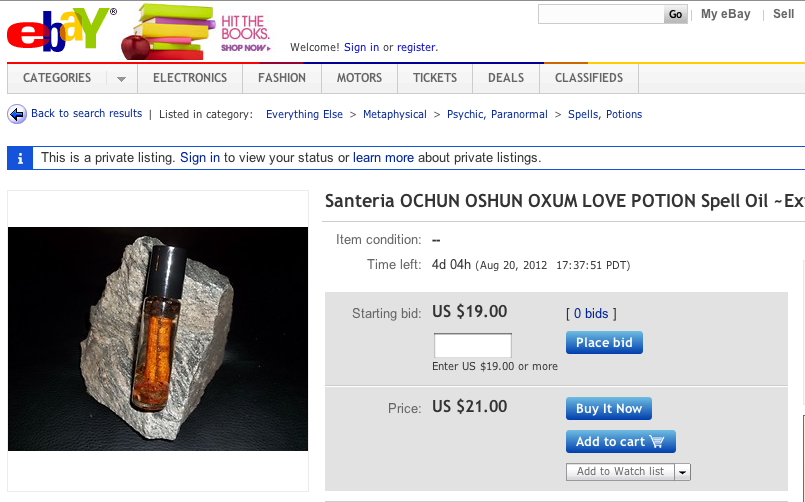 "A ""powerful"" love potion for sale on eBay. The ""buy it now"" price is $21."