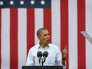 President Barack Obama speaks at a campaign rally on August 15 in Dubuque, Iowa.
