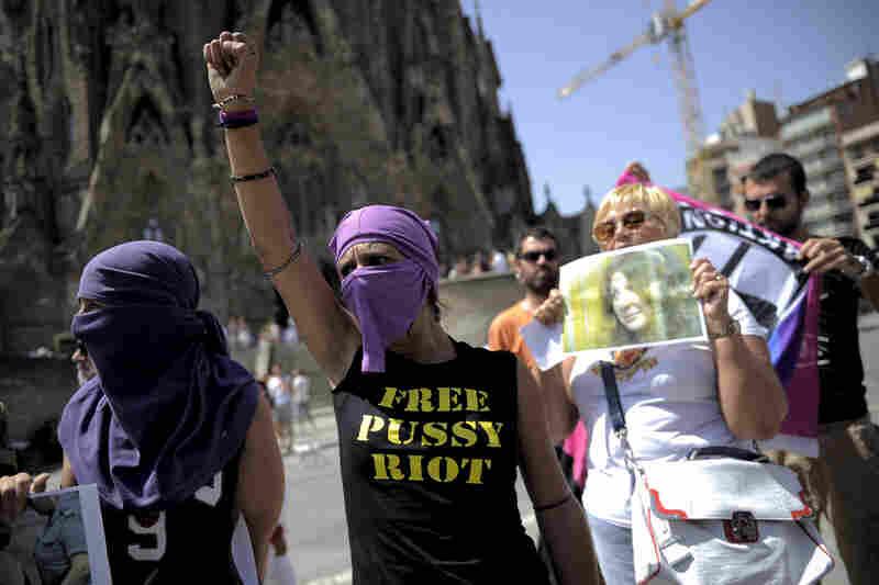 Demonstrators gather near the Sagrada Familia, a Catholic church in Barcelona, Spain.