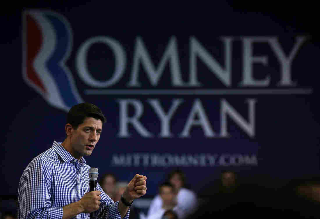Republican vice presidential candidate Paul Ryan speaks during a campaign rally at West Springfield High School on Friday.