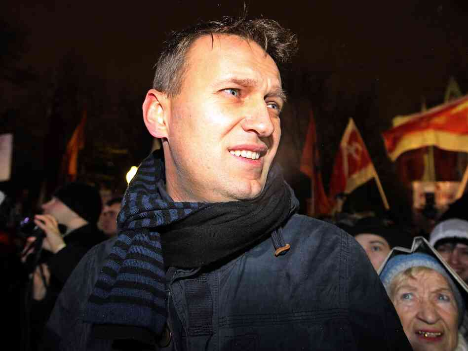 Influential Russian blogger Alexei Navalny takes part in an opposition rally in central Moscow on December 5, 2011.