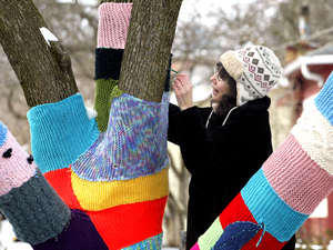 "Nancy Mellon sews another knitted section to the ""Knit Knot Tree"" on Xenia Avenue in Yellow Springs, Ohio, in February 2008."