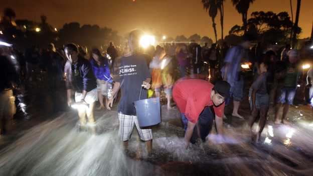 People stand on the beach to catch grunion during the annual grunion run at Cabrillo Beach in San Pedro, Calif., in 2009. (AP)