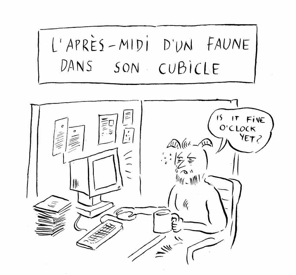 "[""Prelude To The Afternoon Of A Faun In His Cubicle""] Claude Debussy, composer of Prelude To the Afternoon of a Faun, was born 150 years ago, Wednesday, Aug. 22. (Cartoon by Pablo Helguera)"