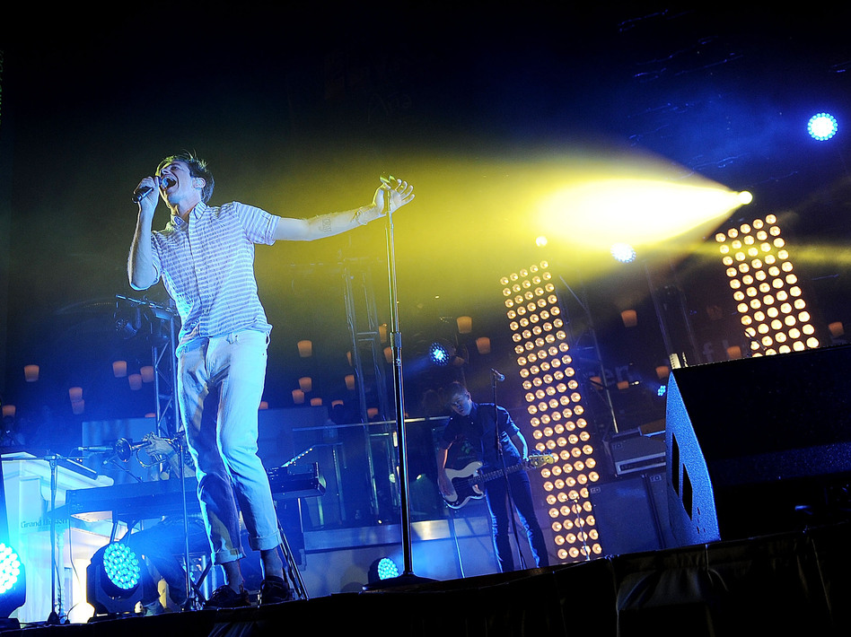 Singer Nate Ruess of fun. performs in Las Vegas. Behind Ruess are lighting director Jackie Finney's favorite new tools: towers of white lights called kryptons. (WireImage)