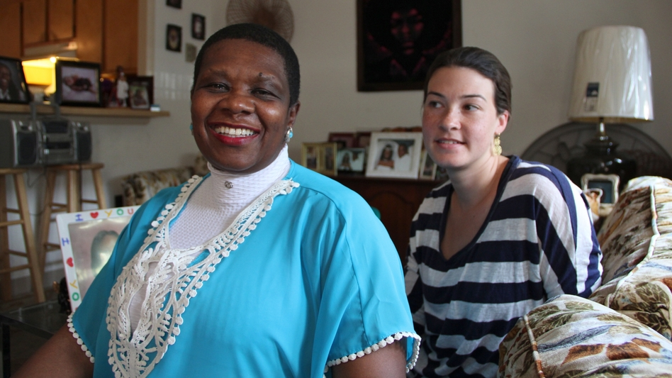 """Ruth """"Margo"""" Gee (left) is hopeful that her brother, Tyrone Jones, convicted of murder as a juvenile, will soon be freed from prison. Lawyer Charlotte Whitmore is helping her. (Emma Lee for NPR)"""