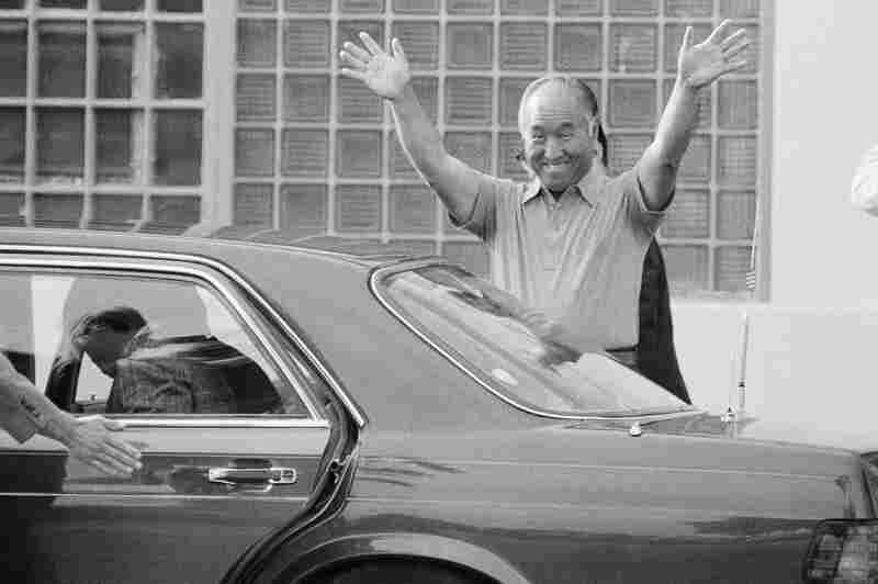 Moon leaves the Federal Correctional Institution in Danbury, Conn., July 4, 1985. Moon was imprisoned in 1984 after being convicted of tax-evasion charges. He left Danbury to serve the remainder of his sentence at a halfway house in Brooklyn, N.Y.