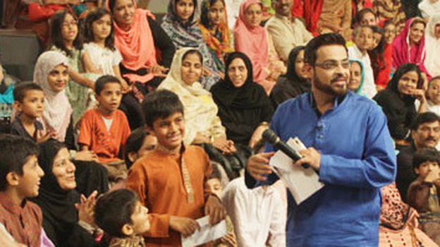 Aamir Liaquat, 41, is one of Pakistan's most famous and controversial TV hosts. During the holy month of Ramadan, he broadcasts live for 11 hours a day while fasting and drawing record audiences. Back in 2008, remarks he made about a religious minority in Pakistan were followed by a wave of deadly violence. He was fired and recently rehired. (Courtesy of Geo TV)