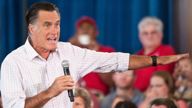 """Republican presidential candidate Mitt Romney speaks at a town hall meeting in Grand Junction, Colo., on July 10. Romney said he has """"nothing hidden"""" in his taxes. (AFP/Getty Images)"""
