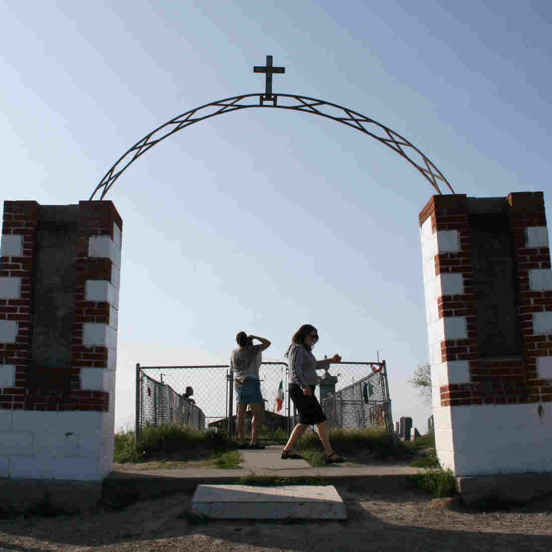 A memorial marks the site of the 1890 Wounded Knee Massacre in Wounded Knee, S.D. The town is located on the Pine Ridge Indian Reservation, home to the Oglala Sioux Tribe.