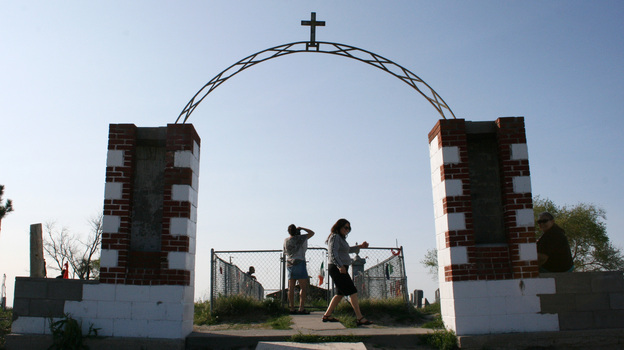 A memorial marks the site of the 1890 Wounded Knee Massacre in Wounded Knee, S.D. The town is located on the Pine Ridge Indian Reservation, home to the Oglala Sioux Tribe. (AP)
