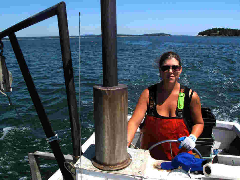 Genevieve Kurilec pilots her boat, Hello Darling, near the coastal waters of Maine. Kurilec, 29, has worked on or around boats since graduating high school.