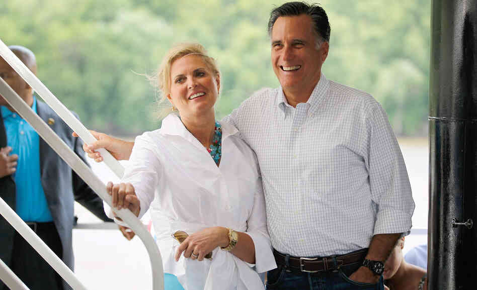 Republican presidential candidate Mitt Romney and his wife, Ann, visit the Spirit of Dubuque in Iowa, in June.