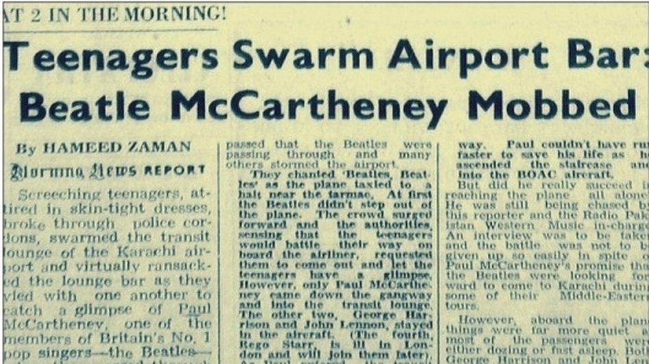 A 1963 clipping from Pakistan's Morning News describes how Pakistani pop fans gate-crashed their way into a bar at the Karachi Airport where The Beatles were having a drink. The band had arrived in Karachi en route to Hong Kong. (Courtesy of Sami Shah)