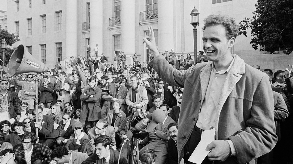 Mario Savio, shown here at a victory rally in UC Berkeley's Sproul Plaza on Dec. 9, 1964, was the face of the free speech movement. (AP)