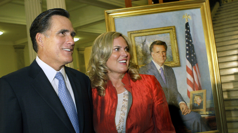 Former Massachusetts Gov. Mitt Romney and his wife, Ann, greet guests after his official portrait is unveiled in 2009 during a ceremony on the Grand Staircase at the Statehouse in Boston.