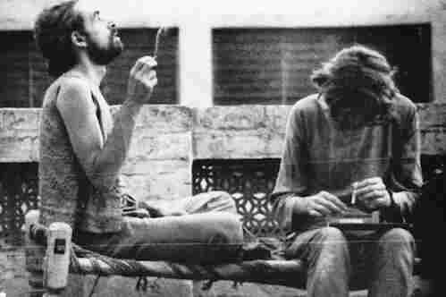 "Western tourists smoke hashish on the roof of a hotel in Peshawar in 1972. Pakistan was an important destination along the ""hippie trail,"" a popular route for Western backpackers that ran across Turkey, Iran, Afghanistan, Pakistan and India, usually ending in Nepal."