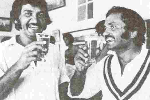 Pakistani cricket batsman Sadiq Muhammad (left) and former Pakistani cricket captain Mushtaq Muhammad share a beer in Sydney in 1977. Later that year, alcohol would become illegal for Muslims in Pakistan.