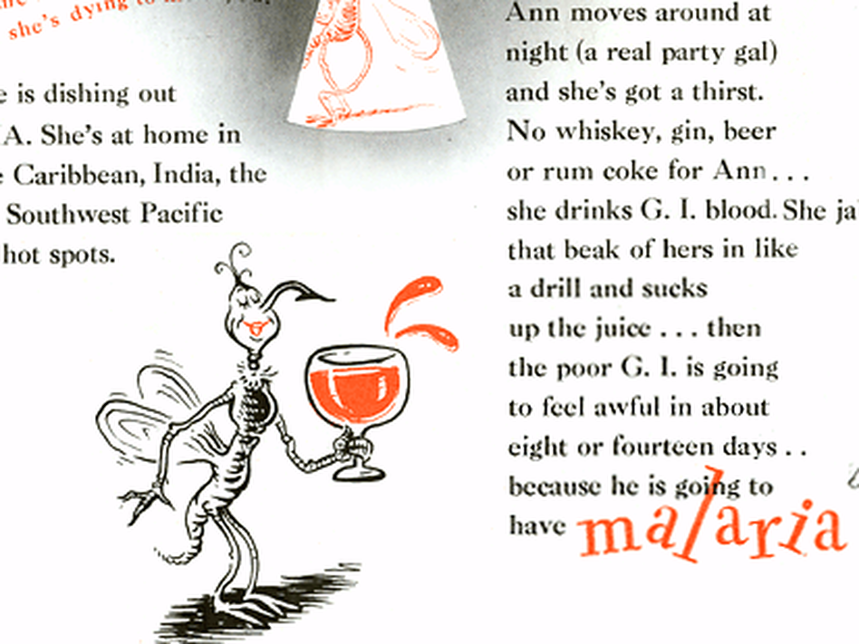 During World War II, Capt. Theodor Geisel — better known as Dr. Seuss — created a small booklet explaining how to prevent mosquito bites. (Courtesy of USDA)