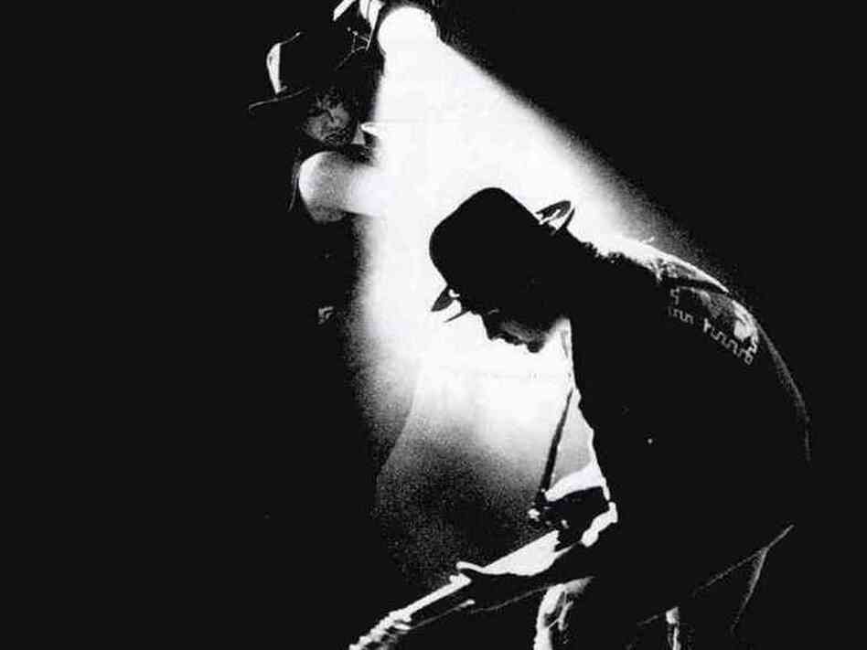 The iconic cover art for U2's 1988 album <em>Rattle and Hum</em>.