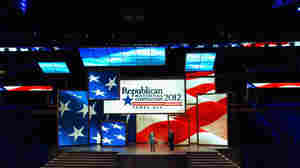 Republican National Committee officials on Monday unveiled the stage inside of the Tampa Bay Times Forum in preparation for the Republican National Convention.