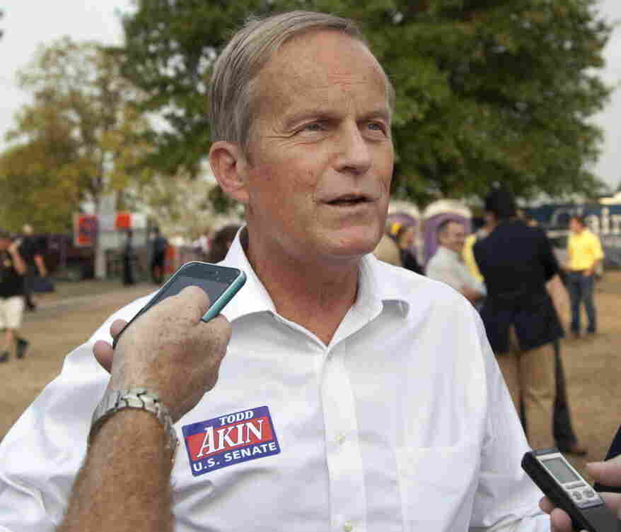 Rep. Todd Akin, R-Mo., talking with reporters at the Missouri State Fair last week.