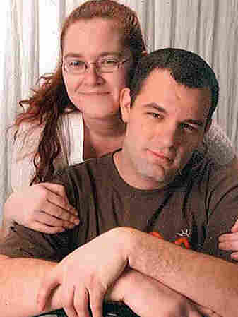 Army veteran Justin Claus and his fiancee, Crystal Scroggins. Claus has been jobless for two years and suspects his military disability may be keeping him from getting hired.