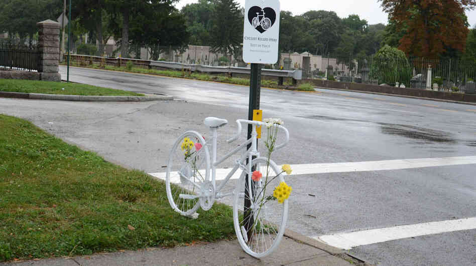 A ghost bike memorializes an unknown cyclist killed while riding in Brooklyn, N.Y.