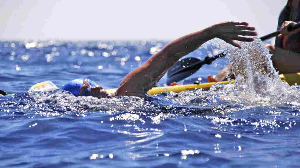 Diana Nyad in the Florida Straits on Monday.