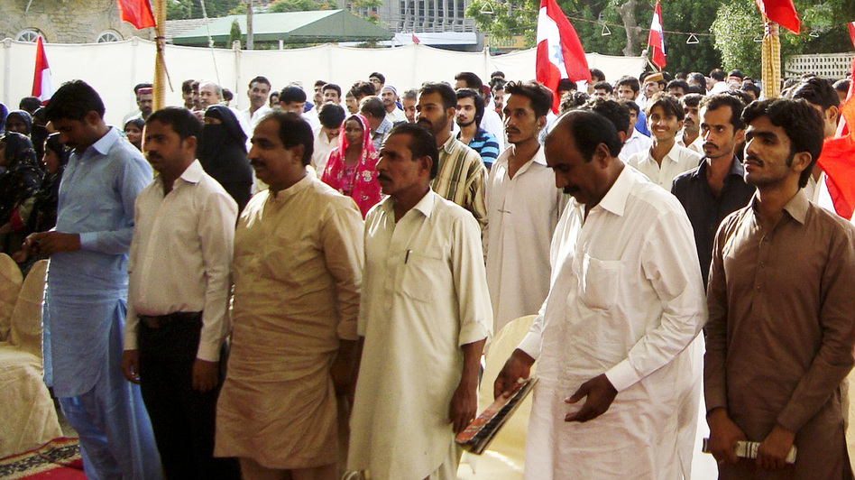 Crowds of Sindhi nationalists hold an anti-China rally in Karachi on Aug. 9. Local activists have called for a boycott of Chinese-made products. (NPR)