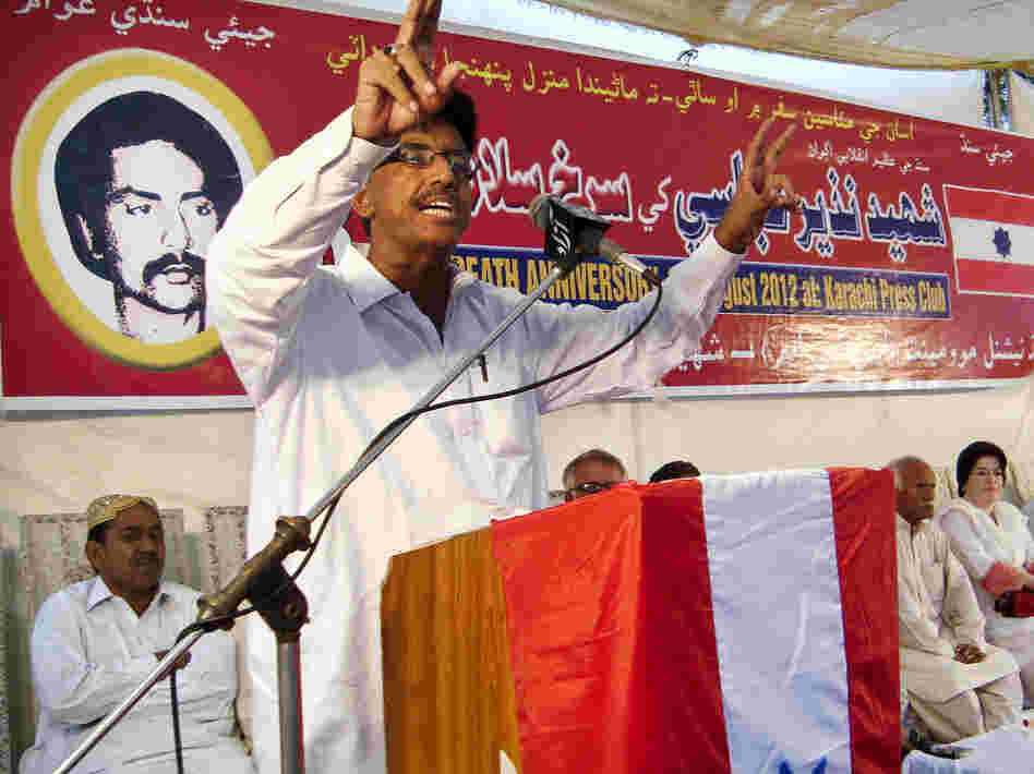 Ali Hassan, president of the Sindhi National Movement, speaks at an anti-China rally in Karachi on Aug. 9. Local activists were protesting the construction by China of an industrial megacity, Zulfiqarabad, in their province.