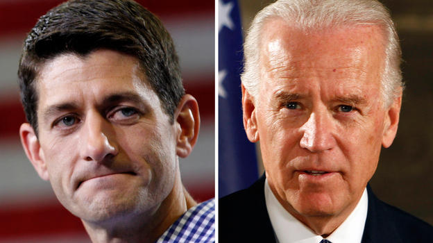 This composite image shows Republican vice presidential candidate Rep. Paul Ryan (left) and Vice President Biden. Both men are Catholic, but their worldviews are strikingly different. (AP)