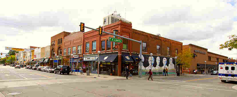 The Dangerous Streets Of ... Ann Arbor? Harry Dolan sets his David Loogan crime series in the university town of Ann Arbor, Mich., which is also home to Borders' flagship book store (right of mural), a now-empty writers landmark.