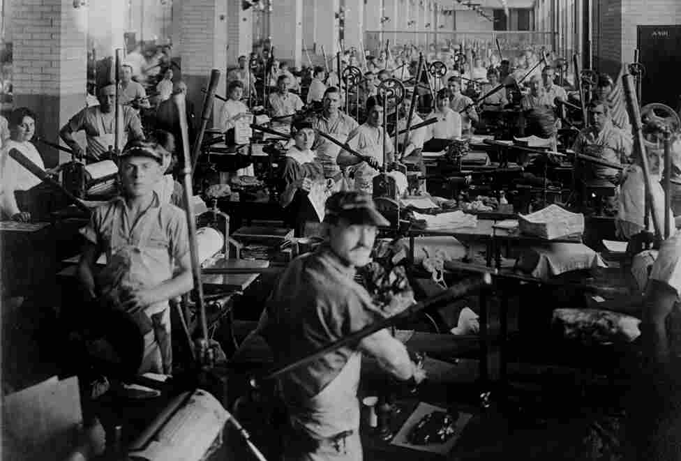 """Hand-run printing presses like these in 1909 produced 45 sheets an hour, while today's automated machines churn out 10,000 in the same amount of time. """"This was considered the toughest job at the time,"""" said Franklin Noll, a historical consultant at the U.S. Bureau of Engraving and Printing. """"You had to work as fast as you could all the time on a rate where you only got paid for the good sheets."""""""